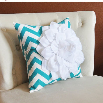 MOTHERS DAY SALE Pillow--Flower Pillow, Turquoise Chevron, Baby Nursery Decor, 14 x 14 Filled Pillow, Gift for Her, Gift for Baby