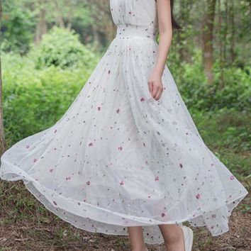 White And Red Boho Floral Print Embroidery Grenadine Flowy Bohemian Maxi Dress