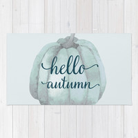 hello autumn blue pumpkin Rug by Sylvia Cook Photography