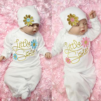Baby Girl Clothes Newborn girl Take Home outfit Baby Girl Set Baby Gown US Stock