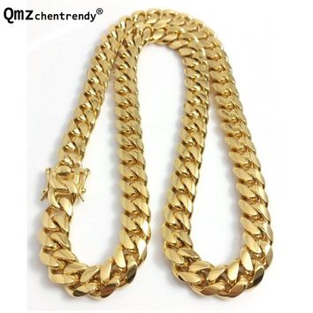 Qmzchentrendy 14mm Stainless Steel Curb Cuban Chain Necklace Boys Mens Fashion Chain Dragon Clasp Link jewelry