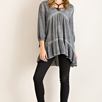 Acid Wash Tunic Top - Charcoal