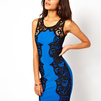 Lipsy | Lipsy Lace Silhouette Applique Pencil Dress at ASOS