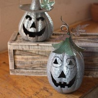 Set Of 2 Galvanized Jack-O-Lanterns