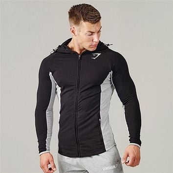 2016 Gymshark hoodies men hooded sweatshirts fashion Muscle Brothers hoodie men Muscle hombre tight hoodie Fitness clothing