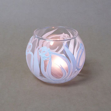 Candle Holder Hand painted Glass sphere Tea light holder Home decor White tulips Wedding candle holder Mother's day gift Romantic Flowers