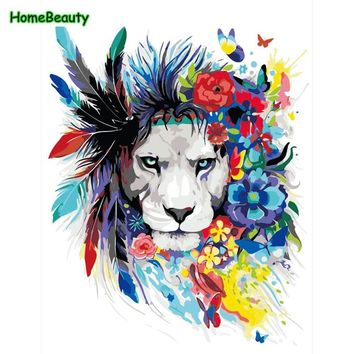 Oil painting by numbers on canvas hand painted drawing by number feather lion picture for living room home decor wall art WYA433