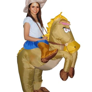 2016 Halloween Costumes for Adult Man Woman Outfits Inflatable Cowboy Rider On Horse Costumes Cosplay Fancy Dress Outfits