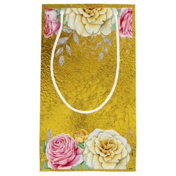 Gold Foil with Vintage Roses Small Gift Bag