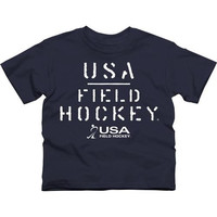 USA Field Hockey Youth Stenciled T-Shirt - Navy Blue - http://www.shareasale.com/m-pr.cfm?merchantID=7124&userID=1042934&productID=528459140 / USA Field Hockey