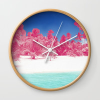 Pink Palms Wall Clock by Kate & Co.