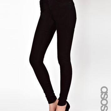 ASOS TALL Ridley High Waist Ultra Skinny Jeans In Clean Black