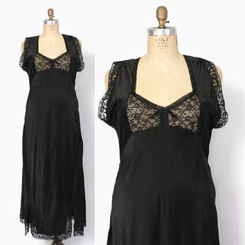 Vintage 40s Plus Size NIGHTGOWN / 1940s Black Rayon & Lace Full Length Nightgown Slip Dress XL
