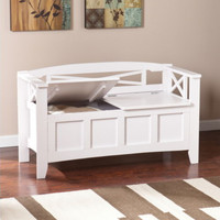 Transitional Bench With Hidden Storage Compartment Home Furniture White Finish