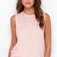 The Fifth Label Stay With Me Blush Pink Muscle Tee