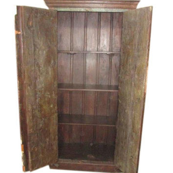 Antique Indian Cabinet Hand Carved Rustic Armoire Jaypur Rustic Doors