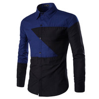 New Color Block Design Long Sleeve Shirt