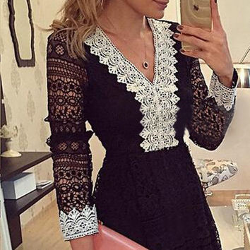 Black Womens Elegant Wedding Party Sexy Night Club V Neck Long Sleeve A line Bodycon Short Lace Dress Plus Size
