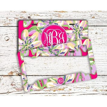 Floral front license plate, Monogram license plate frame, Pink and green flowers, Pretty car accessory