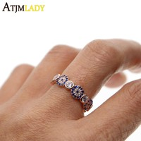 Anillos Real Women 2018 New Delicate Rose Color Jewelry Small Midi Turkish Evil Eye Micro Pave Cz Zirconia Simple Dainty Ring