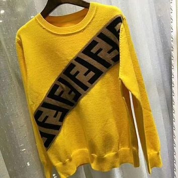 ❤shosouvenir❤ Fendi F striped color letter round neck collar knitted sweater