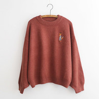 Embroidery Loose Puff Sleeve Sweater
