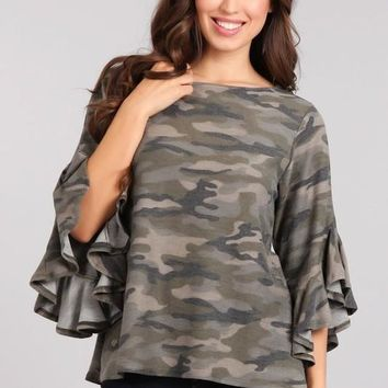 Camo Top with 3/4 length Bell Sleeves with Ruffles