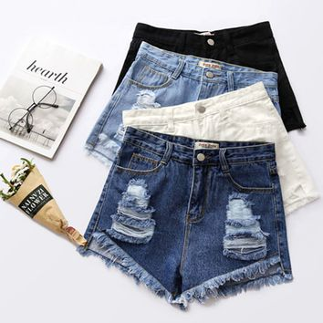 Fashion All-match Casual Buttons  Ruffle Ripped High Waist Jeans