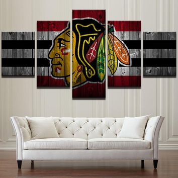 Chicago Blackhawks Hockey Barn Wood Style Canvas Large Framed