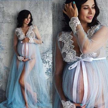 New summer lace maternity dress pregnant women maternity dress photography Props suit pregnancy lace Maxi long dress