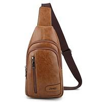 JEEP BULUO New Fashion Men Casual Chest Package PU Leather Aslant Shoulder Bag Khaki