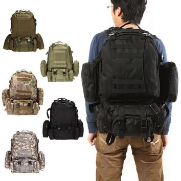 55L Large Outdoor Military Tactical Backpack Rucksacks Camouflage Unisex Camping Hiking Hunting Sports Bags Packs bolsa