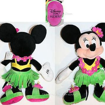 "Licensed cool 2014 Disney Store HAWAII 17"" HULA Minnie Mouse Plush Toy Doll Grass Skirt & Lei"