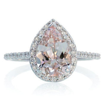 14K White Gold Pear Cut Morganite Engagement Ring Shape Diamond Halo Alternative Engagement Solitaire Wedding Anniversary Gemstone Ring