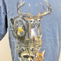Vintage 90s Racoon Fox Beer Deer Cat Animal Print T-Shirt Large