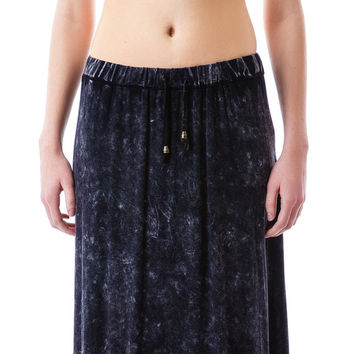 POL Clothing Open Road Stone Wash Maxi Skirt Black