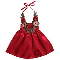 Kids Baby Girls rose Flower Party Sundress Formal Dress Dresses Lace Halter Backless Dress Clothes