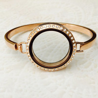 """Rose gold large 30mm memory locket bangle Bracelet stainless steel with crystals 7"""""""