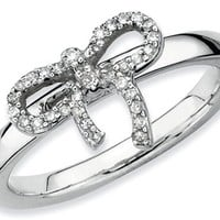 Stackable Expressions Sterling Silver Bow Diamond Stackable Ring LIFETIME WARRANTY