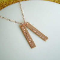 SALE Personalized Rose Gold Bar Necklace .  2 Long Bars, 14K Rose Gold fill, Nameplate, Name, Date, Mothers, Couples, Grandmas, Twins