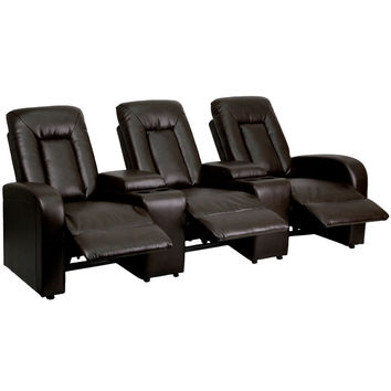 Brown Leather 3-Seat Home Theater Recliner with Storage Consoles