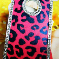 APPLE iPHONE 4 4S DIAMONDS BLING HARD CASE COVER HOT PINK&BLACK LEOPARD CHEETAH