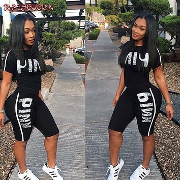 RAISEVERN Hot Letter Print 2 Piece Set Women Summer Two Piece Tracksuit Short Sleeve Top and Knee Length Shorts Casual Outfit 1