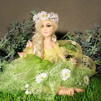 Spring Queen - Unique Felted Doll, Decoration, Art, Snow Beauty, Felt Woman, Needle felted Collectible doll