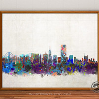 San Francisco Skyline Watercolor Poster, California Print, Cityscape, City Painting, States, Illustration Art Paint, Giclee Wall, Home Decor