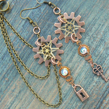 steampunk lock and key dreamcathcer chained ear cuff SET in steampunk victorian hipster tribal and boho style