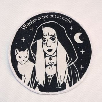 HOME :: Pins & Patches :: PATCHES :: Witches Come Out At Night Iron On Canvas Patch