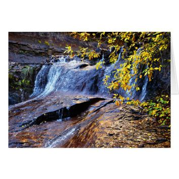 Autumn Waterfall Golden Leaves Subway Blank Inside Card