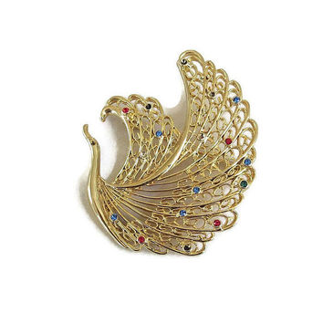 Multi-Color Rhinestone Openwork Swan Brooch Vintage Large