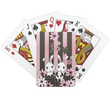 Cute Twin Bunnies Personalized Girly Playing Cards: Name Template: Easter or Birthday Gift Idea for Girls